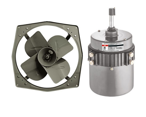 Picture of Indo 1400 RPM Iron Exhaust Fan Components and Motor (Grey)