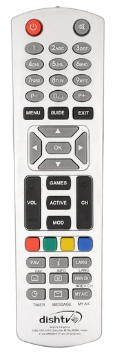 Picture of Dish Tv ORIGINAL which comes with Setop box Dish Tv Setop Box Remote Controller  (Silver) With battery
