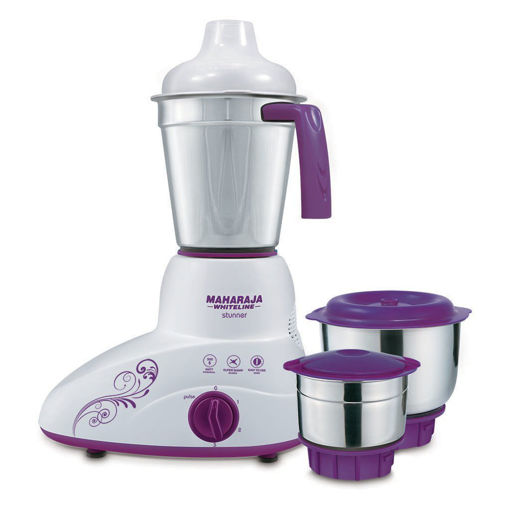 Picture of Maharaja Whiteline Plastic Stunner Mx-168 500-Watt Mixer Grinder with 3 Jars, Standard, Purple and White (2 Year Warranty)
