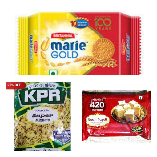 Picture of (Combo Offer 3in1) Agrawal's 420 Soan Papdi (200g) Or KPR Super Mixture (500g) Packet or BRITANNIA Marie Gold Biscuits (250g)