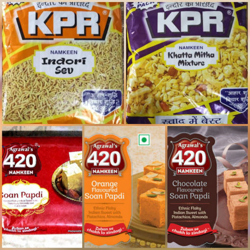 Picture of ( Combo Offer 5in1 )KPR INDORI SEV (500g) Packet or KPR Khatta Mitha Mixture (500g) Packet or Agrawal's 420 Soan Papdi (200g) or Agrawal's Orange Soan Papdi (200g) or Agrawal's Soan Papdi Chocolate (200g)