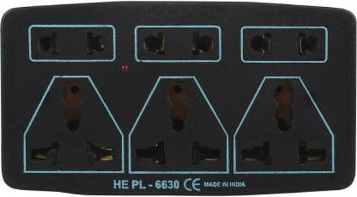 Picture of 3+3 Multi Plug Extension with Switch 6 Socket Extension Boards  (Black)