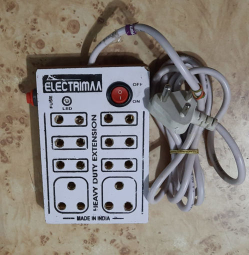Picture of Mini Strip 8 Plug Point Extension Strip with Fuse and Spark Suppressor With Wood Fitting 6 Month Warranty