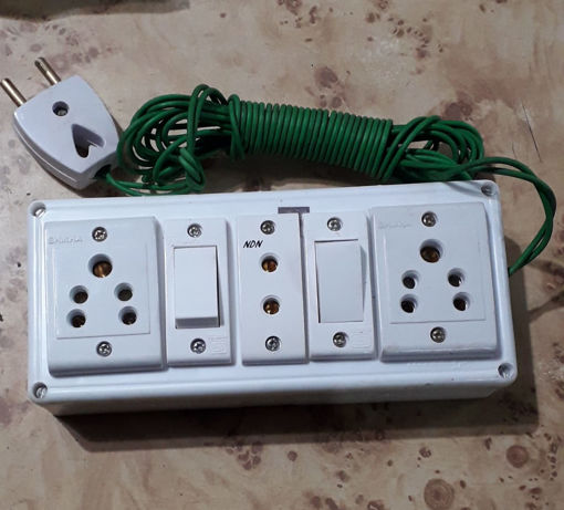 Picture of 3+2 Extension Board 3 Socket or 2 Switch and 10 Fit Cords (PVC Body)