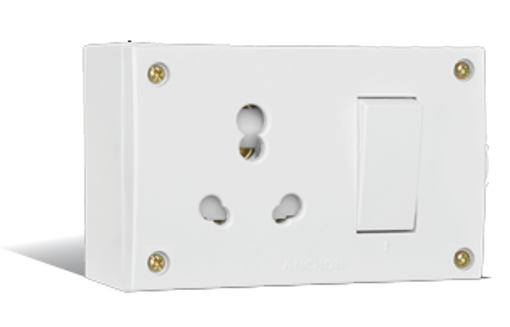 Picture of Anchor S.S. Combine With Juction Box Socket With Safety Shutter (Four Fixing Holes) 20A or 10A (39593) WHITE