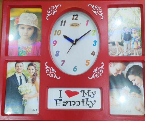 Picture of Revel Gift article 4 Photo Frame with Clock Pink Color
