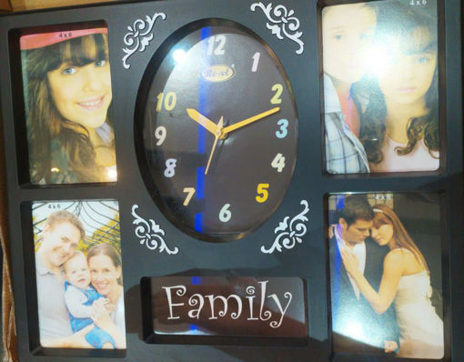 Picture of Revel Gift article 4 Photo Frame with Clock black Color