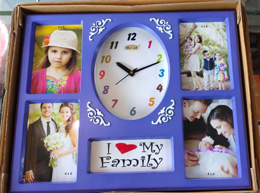Picture of Revel Gift article 4 Photo Frame with Clock Purple Color