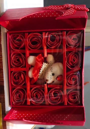 Picture of ROSE CART Artificial Flower, Showpiece, Soft Toy Gift Set, teddy rose Set