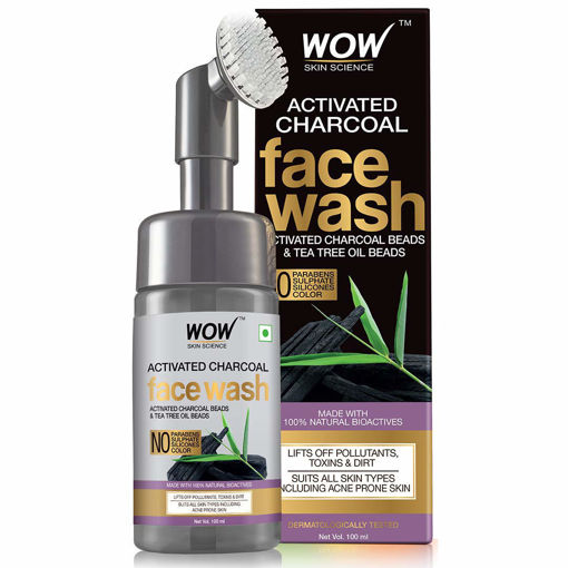 Picture of WOW Skin Science Charcoal Foaming Face Wash with Built-In Face Brush for Deep Cleansing - No Parabens, Sulphate, Silicones & Color, 100 ml +50ml Extra