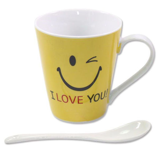"""Picture of Yellow Winking """"I love you!"""" Coffee Expresso Green Tea Cup Mug w Spoon Gift Box 