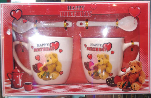 Picture of Coffee Mug Set with Spoon and Teddy Bear in Red and White Color for Valentines Day Gift for Him Or Her, Birthday Gift, Coffee Mug