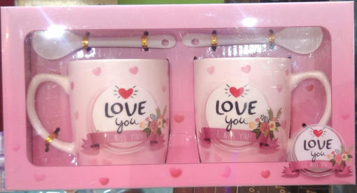 Picture of 2 Coffee Double Sided Printed LOVE with Spoon Best for Gift Ceramic Coffee Mug  (200 ml)