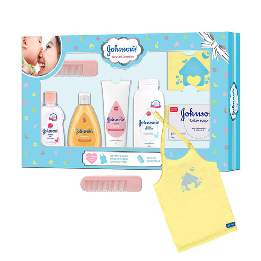 Picture of Johnson's Baby Care Collection Baby Gift Set with Organic Cotton Baby T-Shirt (7 Pieces)