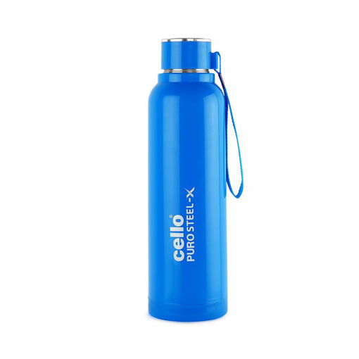 Picture of Cello Puro Steel-X Benz Inner Steel Outer Plastic with PU Insulation Water Bottle, 900 ml (Blue)