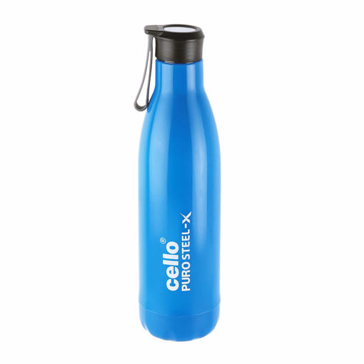 Picture of Cello Puro Steel-X Rover 900 Inner Steel Outer Plastic with PU Insulation Water Bottle, 900ml, blue