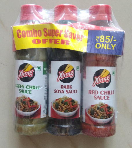 Picture of Xinng Green Chilli, Dark Soya , Red Chilli Sauce Combo Super Saver Offer Pack 200gx3