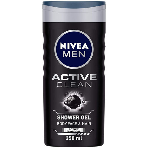 Picture of NIVEA Men Body Wash, Active Clean with Active Charcoal, Shower Gel for Body, Face & Hair, 250 ml