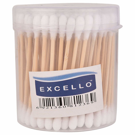 Picture of EXCELLO Wooden Stick Ear Buds cotton +Plastic Cotton swab Cotton buds