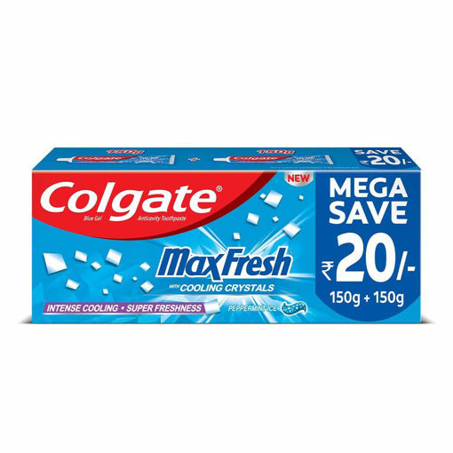 Picture of Colgate MaxFresh Toothpaste, Blue Gel Paste with Menthol for Super Fresh Breath, 300g, 150g X 2 (Peppermint Ice, Saver Pack)