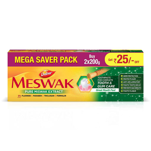 Picture of Dabur Meswak India's No-1 Fluoride Free Toothpaste with Antibacterial, Anti Inflammatory & Astringent benefits ,Helps fight Plaque, Tartar, Cavity and Tooth Decayy 400gm(200gm*2)