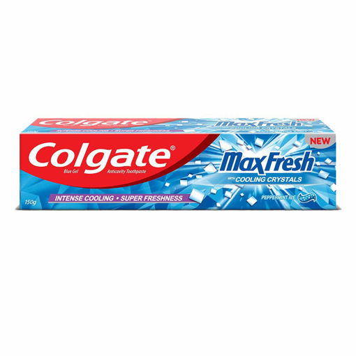 Picture of Colgate MaxFresh cooling crystal Toothpaste, Blue Gel Paste with Menthol for Super Fresh Breath, 150g (Peppermint Ice)