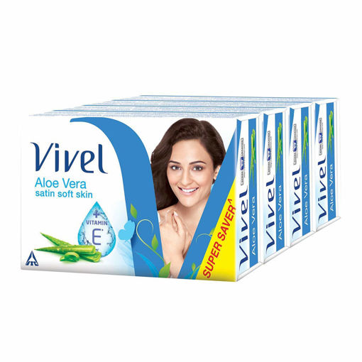 Picture of Vivel Aloe Vera Bathing Bar Soap , 100g (Buy 4 Get 1 Free)