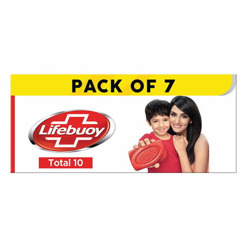 Picture of Lifebuoy Total10 Germ Protection Bathing Soap, Protects From Viruses & Other Harmful Germs Using Activ Silver Shield Formula, Combo Offer- Pack of 7
