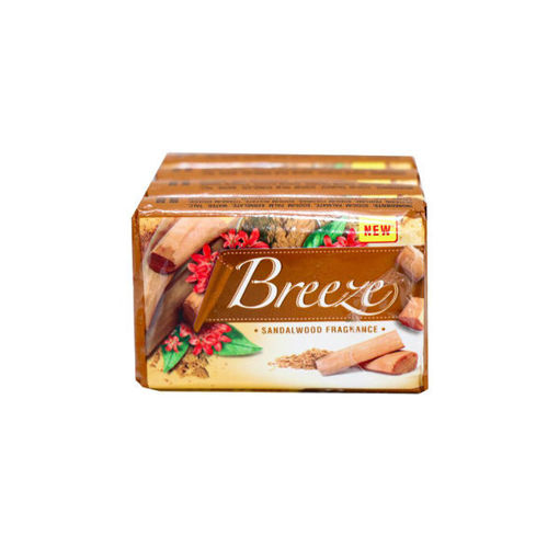 Picture of breeze sandal wood soap 100g,Pack of 4 - (Buy 3 get 1 free)