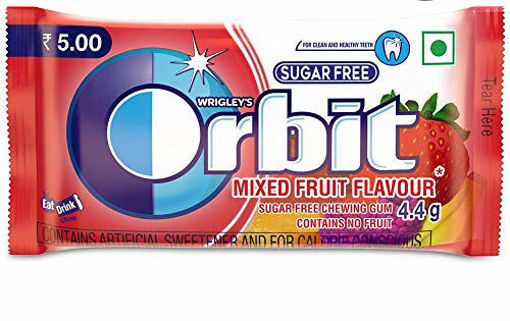 Picture of Orbit Mixed Fruit Flavour Sugar Free Chewing Gum - 4.4g Sleeve
