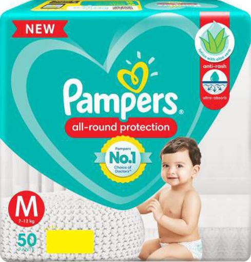 Picture of PAMPERS BABY PANTS M SIZE (7-12KG) 50 PANTS