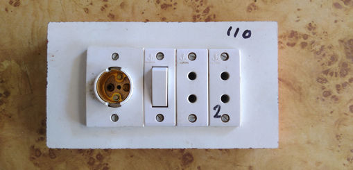 Picture of Wood fitting board holder anchor switch and 2 pin socket