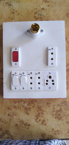 Picture of Wood board with holder 1, indigator 1, 2 pin socket 3, switch 2,