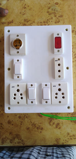 Picture of Pvc board holder 1, indigator 1, 2 pin socket, 5 pin socket 2, switch 3