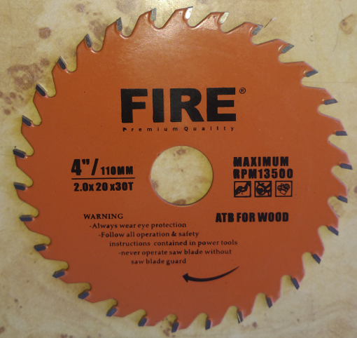 """Picture of FIRE CUT OFF WHEEL FOR WOOD, 4"""" INCH 110MM"""