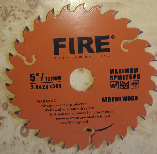 """Picture of FIRE CUT OFF WHEEL FOR WOOD 5"""" INCH / 127MM"""