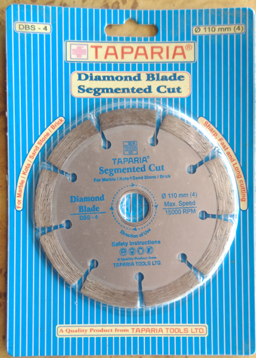 "Picture of TAPARIYA Diamond Blade Segmented cut 110mm 4"" inch, for Marble kota sand Stone Brick sharp fart and long cutting"